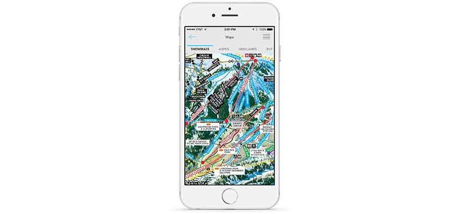 Snowmass Ski Trail Map on Smartphone