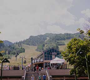 Lower Gondola plaza of aspen mountain in the summer.