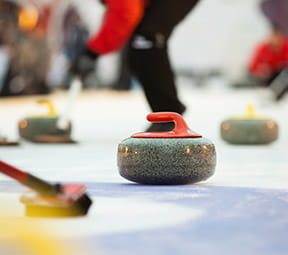 Game of Stones curling series in Snowmass, Colorado at the new Limelight Hotel Ice Rink.
