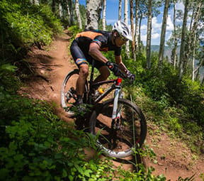 Racers competing in the Audi Power of Four bike race in Aspen Colorado.