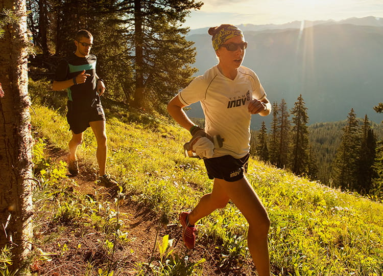 Runner competing in the Audi Power of Four Trail Race.