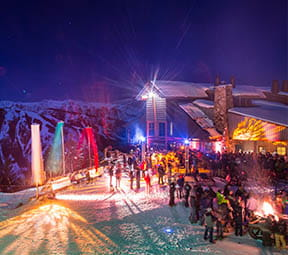 Sunset skiing and party at the Sundeck at Aspen Mountain.