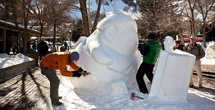Winterskol snow sculpture in Aspen
