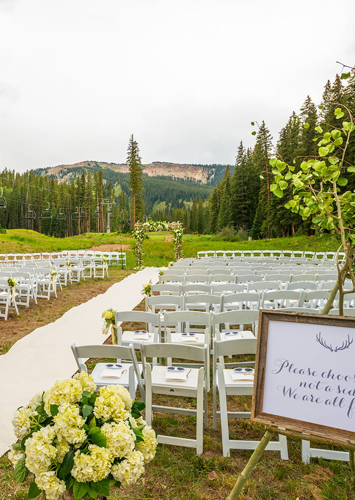 Aspen Outdoor Wedding Ceremony Preparation