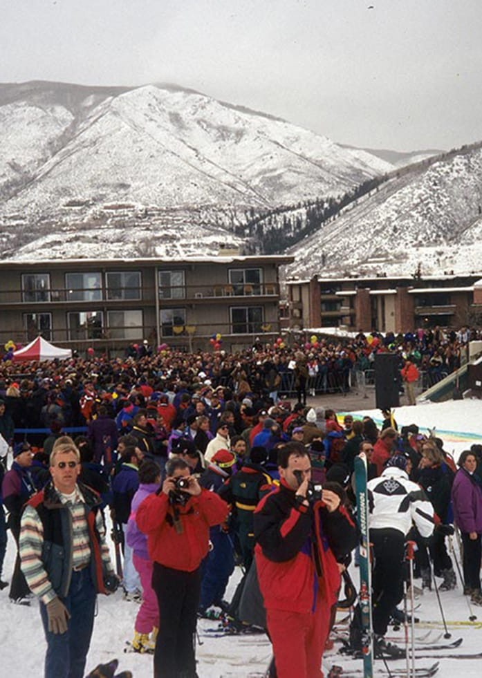 Historical photo from Aspen Gay Ski Week in the 1990s in Aspen Colorado