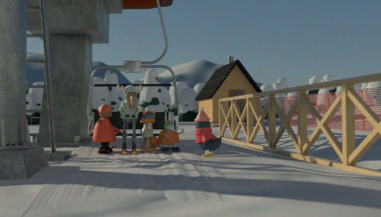 Animated ski lift safety demonstration