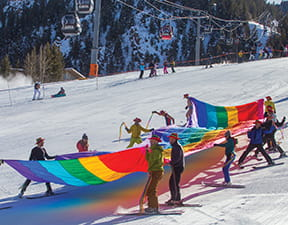 Aspen Gay Ski Week skiing parade