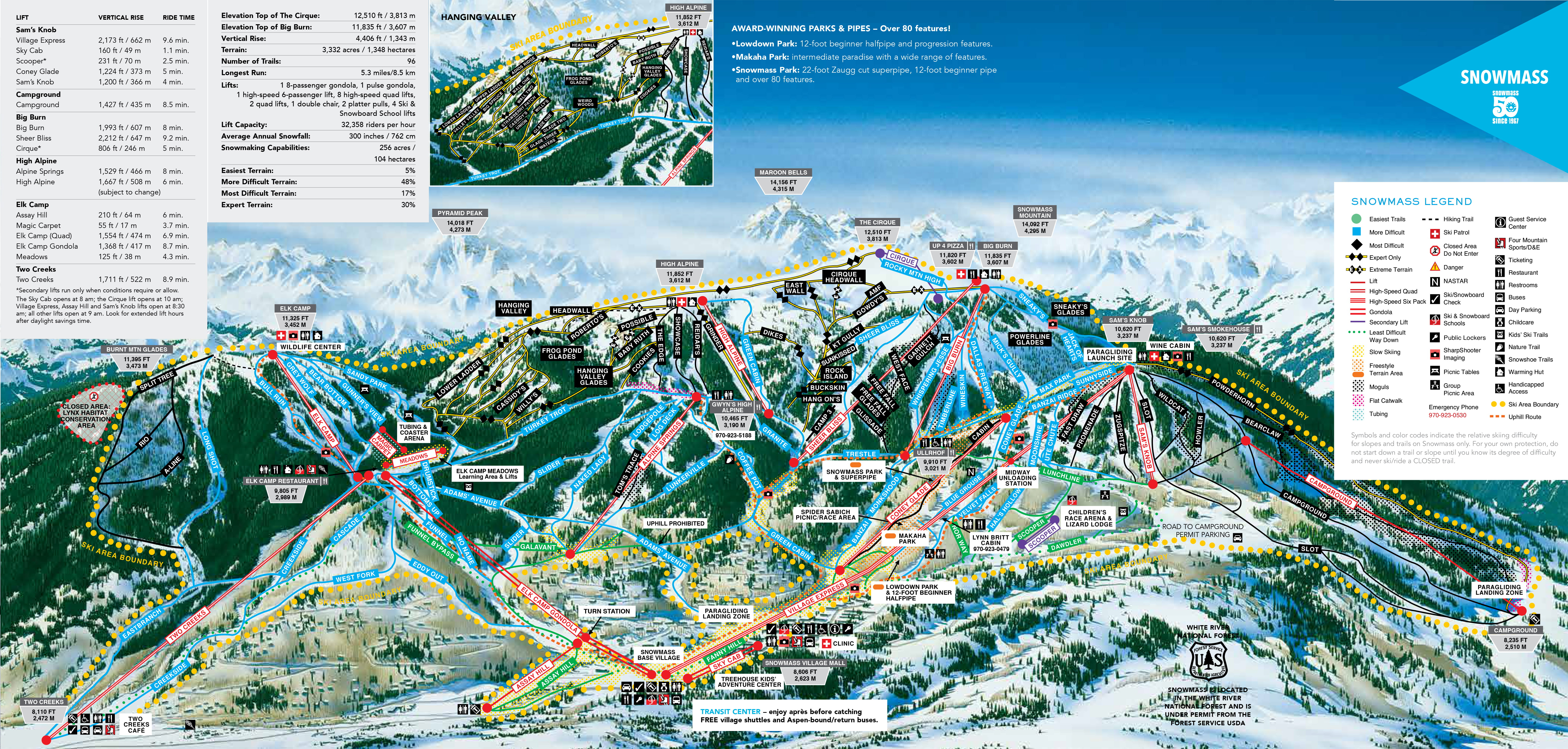 Snowmass Winter And Summer Trail Maps - Vintage ski maps