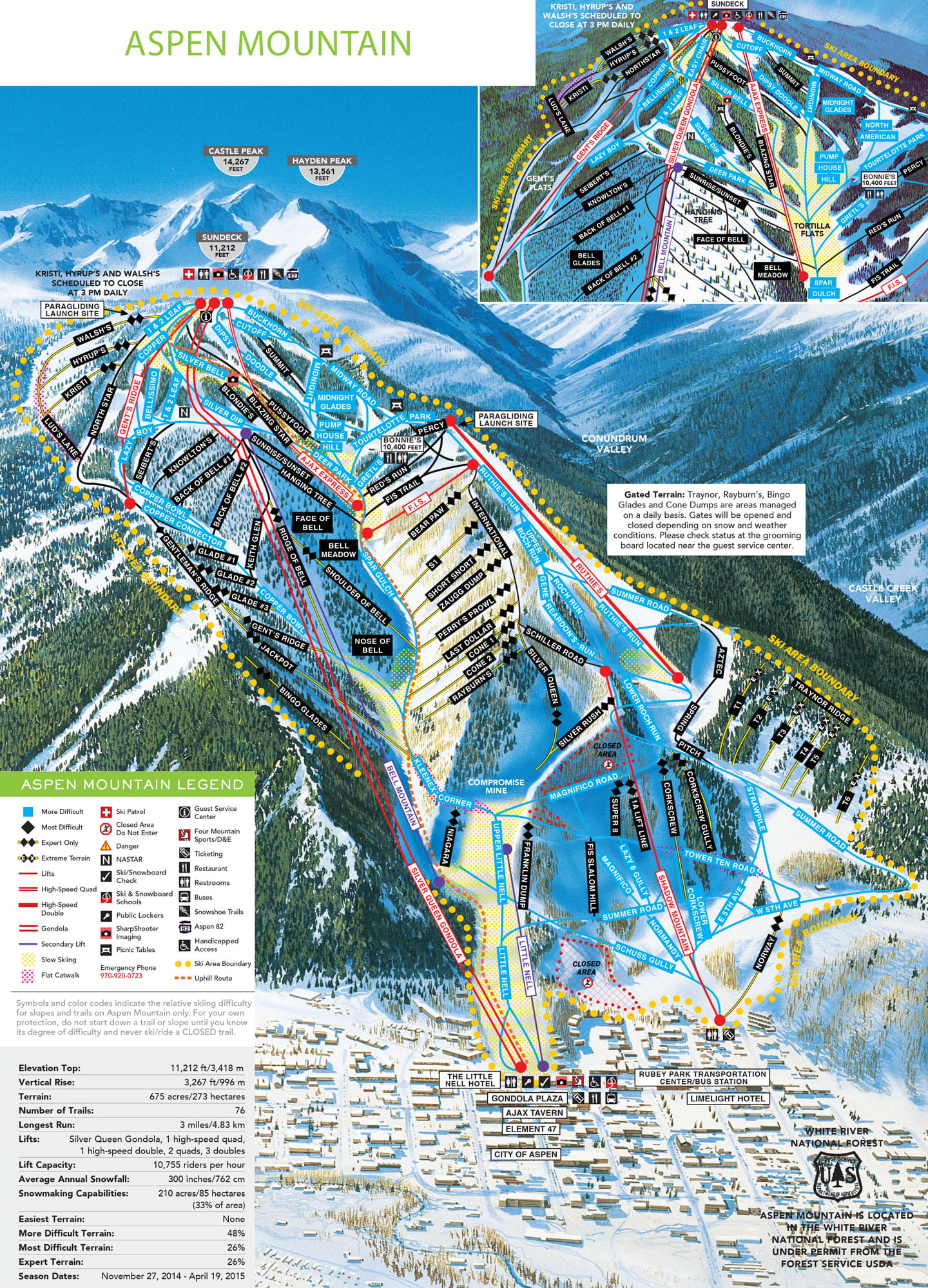 Aspen Mountain Trail Map Aspen Snowmass - Us ski resorts map